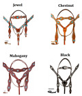 Western Bridle Headstall Reins Breast Collar Barrel Show Parade Trail Horse Tack