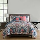 Twin Full Queen King Bed Pink Blue White Tan Paisley Damask 5 pc Comforter Set image