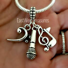 Musician Singer Microphone G Clef Bass Music note Charm Bracelet Necklace gift