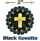 BLACK LEATHER ROSETTE MOUNTED WITH SWAROVSKI CRYSTALS STUDDED CONCHO   LOT OF 1