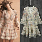 Designer Runway Dress Flare Sleeve V-neck Out Embroidery High Quality Zimmerman