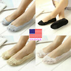 US Women Invisible No Show Nonslip Loafer Lace Boat Liner Low Cut Cotton Socks
