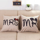 Cotton Linen Home Decor Mr Mrs Mickey Couple Pillow Case Bed Waist Cushion Cover image