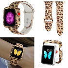 US Leopard Print Silicone Watch Band Wrist Strap For Apple iWatch Series 123 4 5 image
