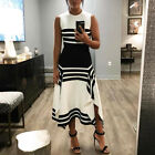 Sleeveless Fit&Flare Long Dress Women Vintage Bodycon Skirts Oversize Cocktail