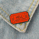 English Letter Hell Admit One Badge Metal Brooch Pin Clothes Scarf Jewelry Code