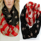 Women Infinitiy Patriotic USA American Flag Theme Scarf Cowl Gift 100% Viscose