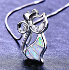 Woman Fashion 925 Silver Jewelry Cat Fire Opal Charm Pendant Necklace Chain Hot
