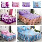 Elastic Bedspread Queen Size Dust Ruffle Bed Skirt Pillowcase Bedding Set New image