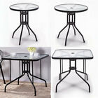 Outdoor Dining Table Garden Patio Bistro Cafe Tempered Glass Top Table Metal Leg