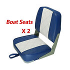 Fishing/Hunting Low Back Fold-Down Boat Seat, Color Charcoal/Blue/Red, 2 seats