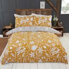 Rapport Woodland Woodcut Reversible Floral Rabbit Duvet Cover Bedding Set Ochre image