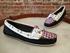 Sebago Artisan Dala Navy Leather & Plaid Mocassin Boat Shoe New