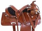 """16"""" Western Leather Saddle Pleasure Trail Ranch Comfy Horse Tack Set 17 18"""