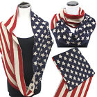 Patriotic USA American Flag Scarf Wrap Long Stars Striped Infinitiy Cowl Knit