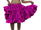 MAGENTA 4 Tiered Satin Short Mini Dress Skirt Ruffle Pleated Belly Dance Jupe
