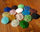 PICK COLOR 6pc 21 small sand dollar coin sea glass pendant bead frosted recycled