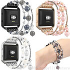 Women For Fitbit Blaze Smart Watch Strap Agate Beads Chain Stretch Bracelet Band image