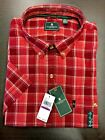 NWT G.H. Bass Men's Rhubarb Red Plaid Button Front Button Down S/S Shirt