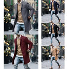 Men Cotton Coat Plain Trench Coat Outwear Overcoat Long Sleeve Button Up Jacket