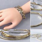 Gold or Silver Finish Brass Stackable Dainty Bracelet Inspirational Message image
