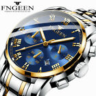 FNGEEN Men Fashion Stainless Steel Military Army Analog Sport Quartz Wrist Watch image