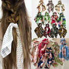 Flower Leopard Print Elastic  Hair Rope Scarf Hair Band Big Bow Ribbon Scrunchie
