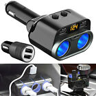 12V 2/3 Way Car Cigarette Lighter Socket Splitter Dual USB Charger Power Adapter
