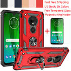 For Motorola Moto G7 Plus/Power/Supra/Play Armor Case Cover+Magnetic Ring Stand