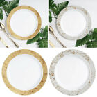 "Plastic 9"" White Marble Trimmed Plastic Plates for Lunch Salad Dishes Disposable"