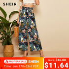 SHEIN Belted Frilled Waist Tropical Print Loose Long Palazzo Pants 2019 Spring