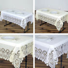 RECTANGULAR PLASTIC TABLECLOTH with Crocheted Lace Catering Home Party Dinner