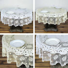 "ROUND PLASTIC TABLECLOTH 70"" with Crocheted Lace Catering Home Party Dinner"