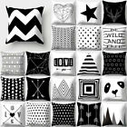 Geometric Black White Pillows Case Throw Sofa Bedroom Cushion Cover Home Decor