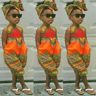 Toddler Kid Baby Girl Outfit Clothes African Print Sleeveless Romper Jumpsuit US