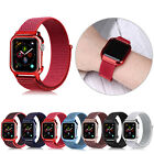 40/44mm Nylon Sport Loop iWatch Band Strap for Apple Watch Series 4 with PC Case image
