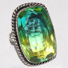 ZG2301 Faceted Ametrine Quartz 925 Silver Plated Ring US 7.5 Jewelry