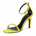Versace Women's Yellow Leather High Heel Ankle Strap Sandals Shoes