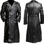 Men's Double Breasted Slim Fit Trench Coat Winter PU Knee Length Jacket Overcoat