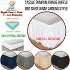 Ruffle Elastic Bed Skirt 16inch Drop Top Knot Tassle Pompom Fringe Fab Bed Decor image