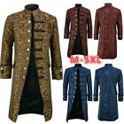 Mens Retro Steampunk Floral Tailcoat Jacket Gothic Victorian Coat Cosplay Suit