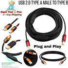 USB Printer Cable Cord 2.0 High Speed Error Free Scanner Hard Drive Black Orange