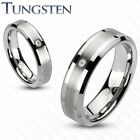One Tungsten Brushed Center with CZ 7mm Band Comfort Fit Ring TU142 image