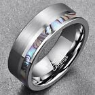Natural Abalone Shell Silver Color Matte Tungsten Carbide Ring image