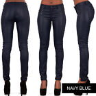 WOMEN'S FAUX LEATHER TROUSERS Wet Look Skinny Slim Jeans Candy Color UK 6-16