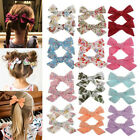 2PC Flower Print Bow BB Hair Clip Baby Girls Boho Style Cotton Cute Hairpin New