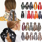 Floral Dot Bow Hair Rope Women Leopard Snake Print HairScarf Ponytail Scrunchies
