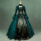 Womens Vintage Cosplay Dress Medieval Gothic Retro Floral Print Ball Gowns Dress