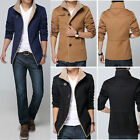 Mens Winter Trench Coat Warm Thick Faux Fur Jacket Long Tops Overcoat Outwear