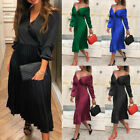 Women Off Shoulder Long Sleeve Flare Pleated Satin Dress Ladies Elegant Skirts